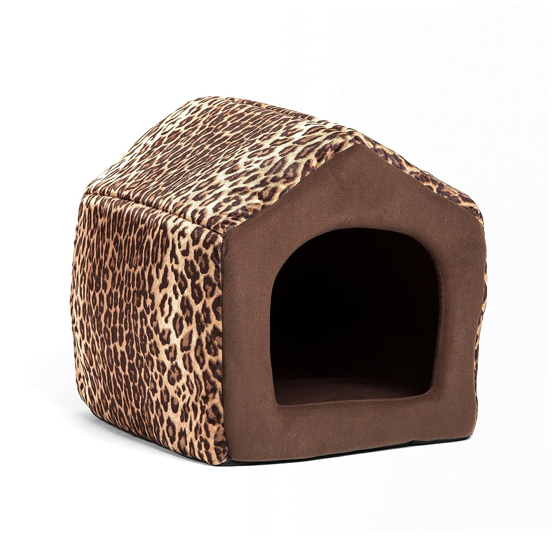 Leopard Brown Mini (< 12 lbs) Leopard Brown Mini (< 12 lbs) Best Friends by Sheri HSE-ZOO-LBR-MED 2-in-1 Pet House-Sofa in Zoo, Leopard Brown, Medium, 17  X 15  X 15 , Mini ( 12 lbs)