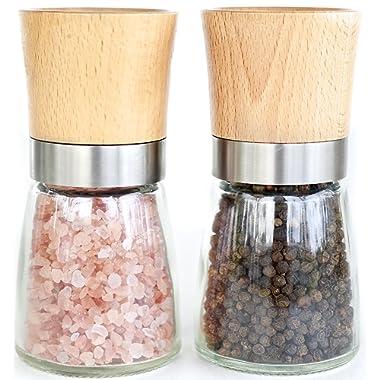 Willow & Everett Salt and Pepper Shakers - Wood Salt and Pepper Grinder Set with Adjustable Coarseness - Salt and Pepper Mill Pair - Spice Grinder