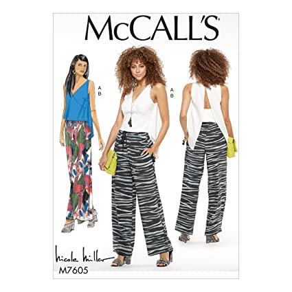 a69bff1e6fa Amazon.com  MCCALLS M7605 Misses  V-Neck Top with Back Extension and  Pull-On Pants with Drawstring SIZE (14-22) SEWING PATTERN  Arts
