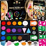 Face Paint Kit for Kids - 60 Jumbo Stencils, 15 Large Water Based Paints, 2 Glitters - Halloween Makeup Kit, Professional Fac