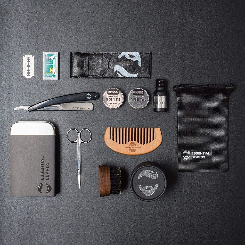 Beard Grooming Kit For Men | Gift Set Beard Balm, Moustache Wax, Beard Oil, Cut Throat, Barber Scissors, Wooden Comb and Beard Brush, Tin included 6A XXL KIT by Essential Beards (cedarwood)