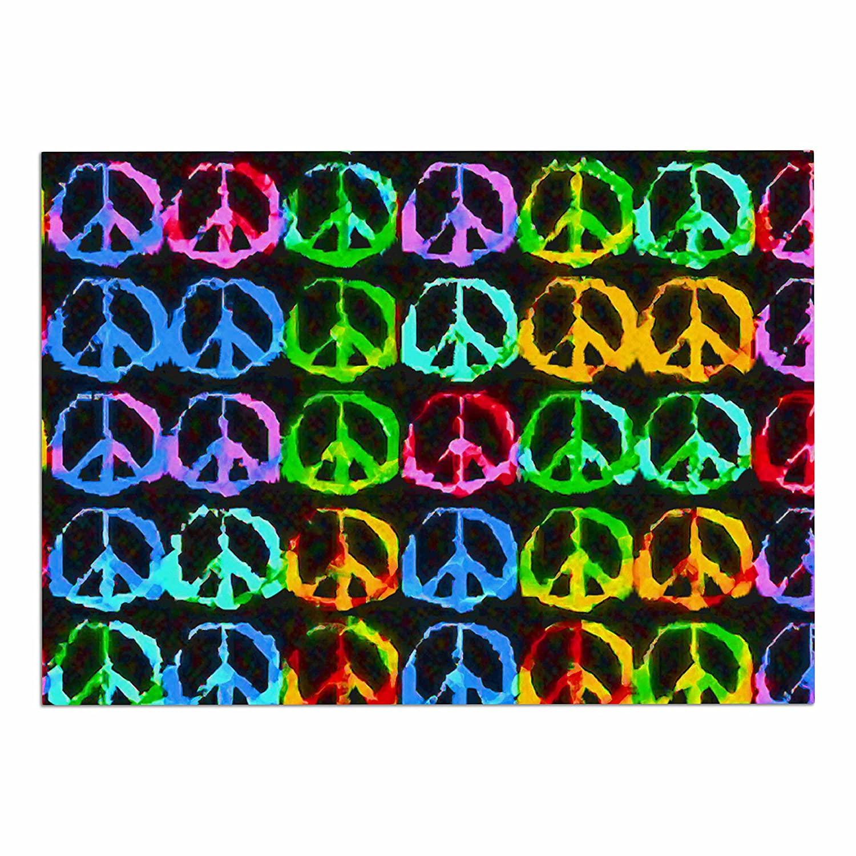 KESS InHouse Anne Labrie give Peace a Chance  Green Pop Art Dog Place Mat, 13 x18