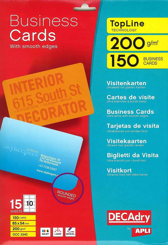 Decadry OCC3343 Biglietti da Visita, Laser/Inkjet, Bordo Liscio, Angoli Arrotondati, 200 G, Confezione da 150 Apli 663494