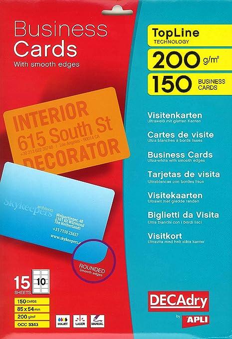 Decadry OCC3343 Pochette De 150 Cartes Visite 54x85mm 200 G Blanc Coins Arrondis