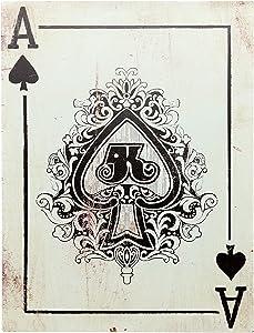 """Barnyard Designs Ace of Spades Retro Vintage Tin Bar Sign Country Home Decor 10"""" x 13"""""""