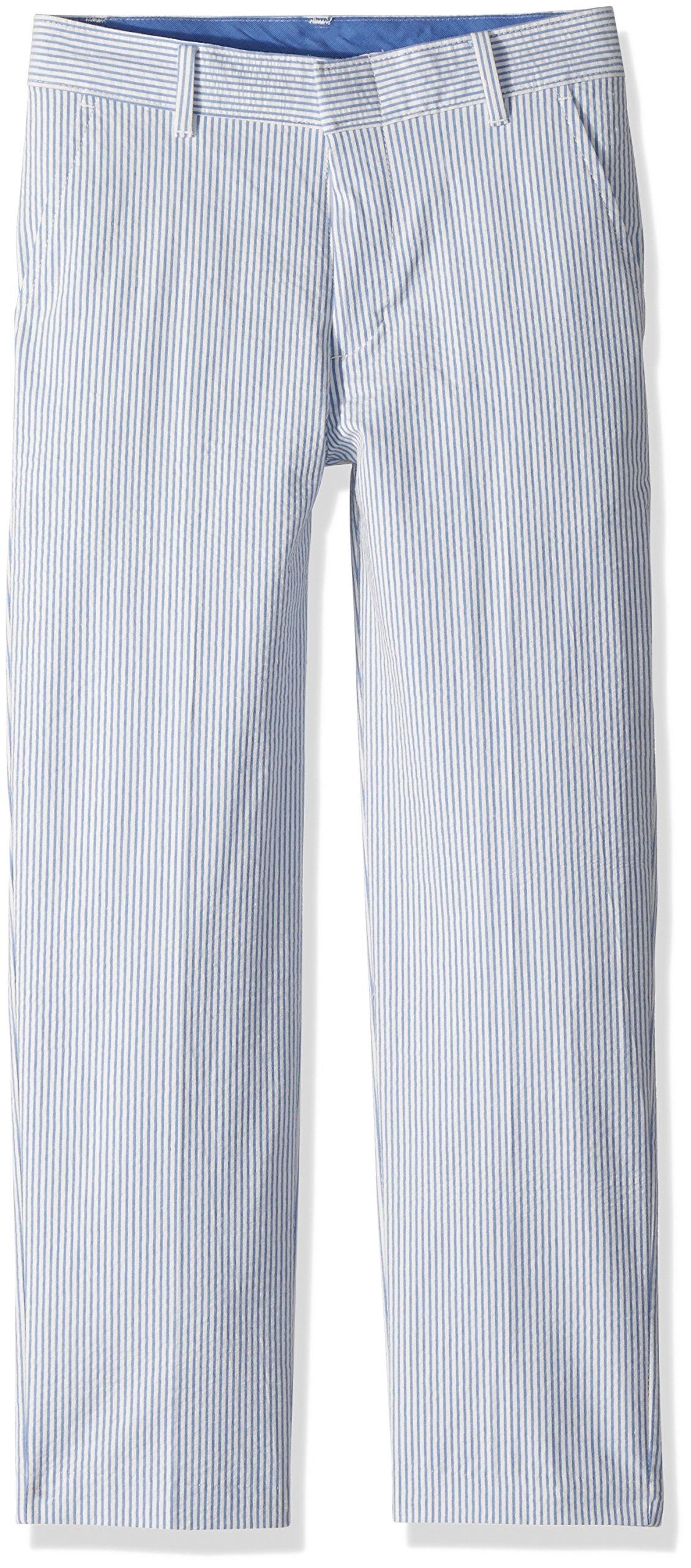 Izod boys Seersucker Flat Front Dress Pant, Seersucker Blue, 12