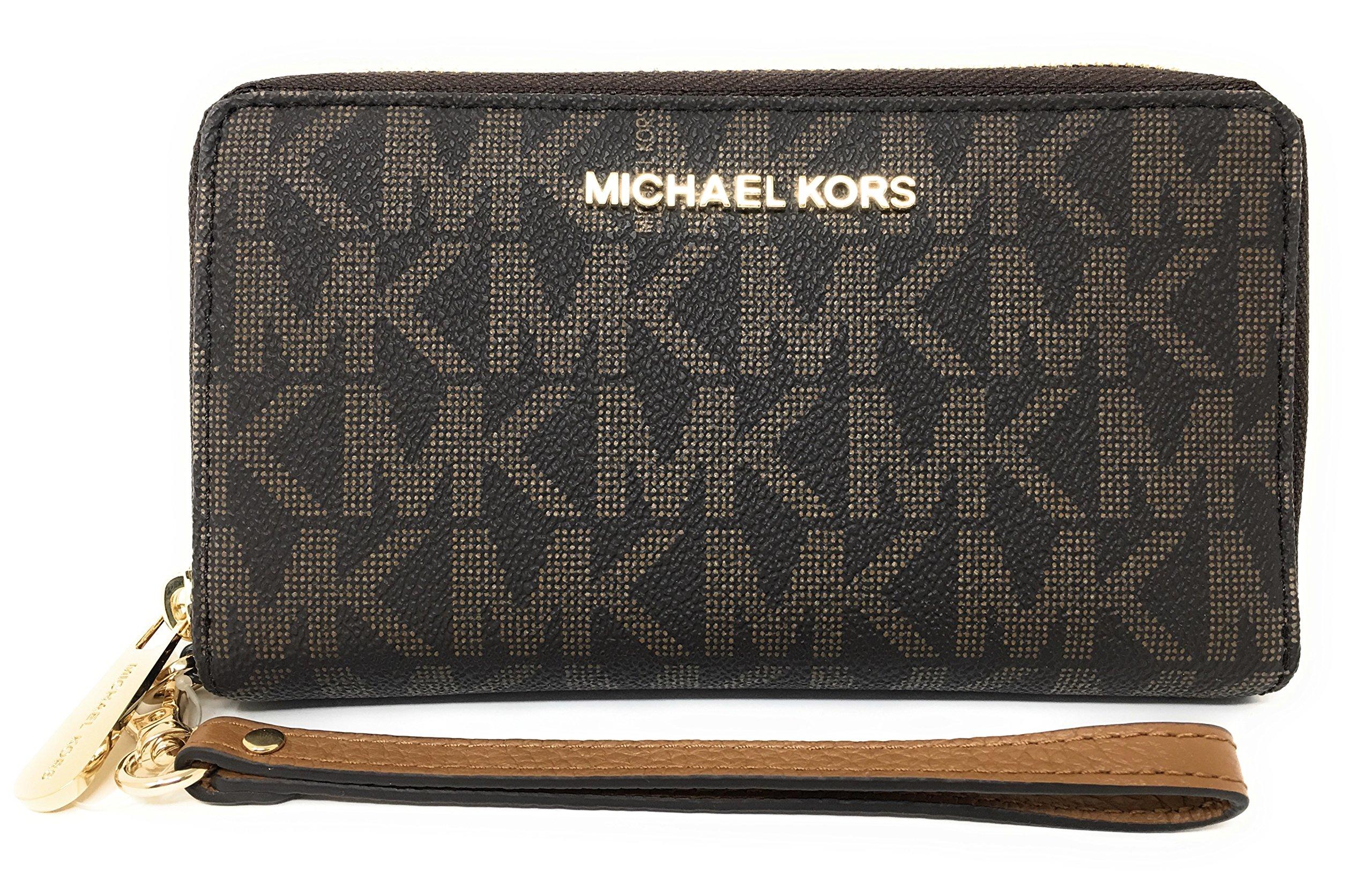 Michael Kors Jet Set Travel Large Flat Multifunction Phone Case Wristlet (Brown/Acorn)