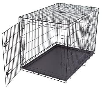 best double door steel crates collapsible and foldable wire dog kennel 42 inch - Collapsible Dog Crate