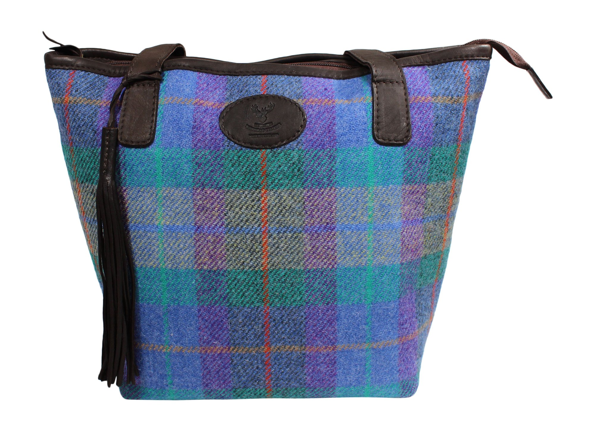 Wild Scottish Deerskin Designer Leather Authentic Herringbone Harris Tweed Large Tote Bag
