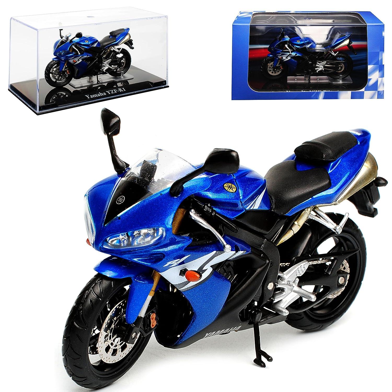 Atlas Yamaha YZF-R1 Blau mit Sockel und Vitrine 1//24 Modell Motorrad mit individiuellem Wunschkennzeichen