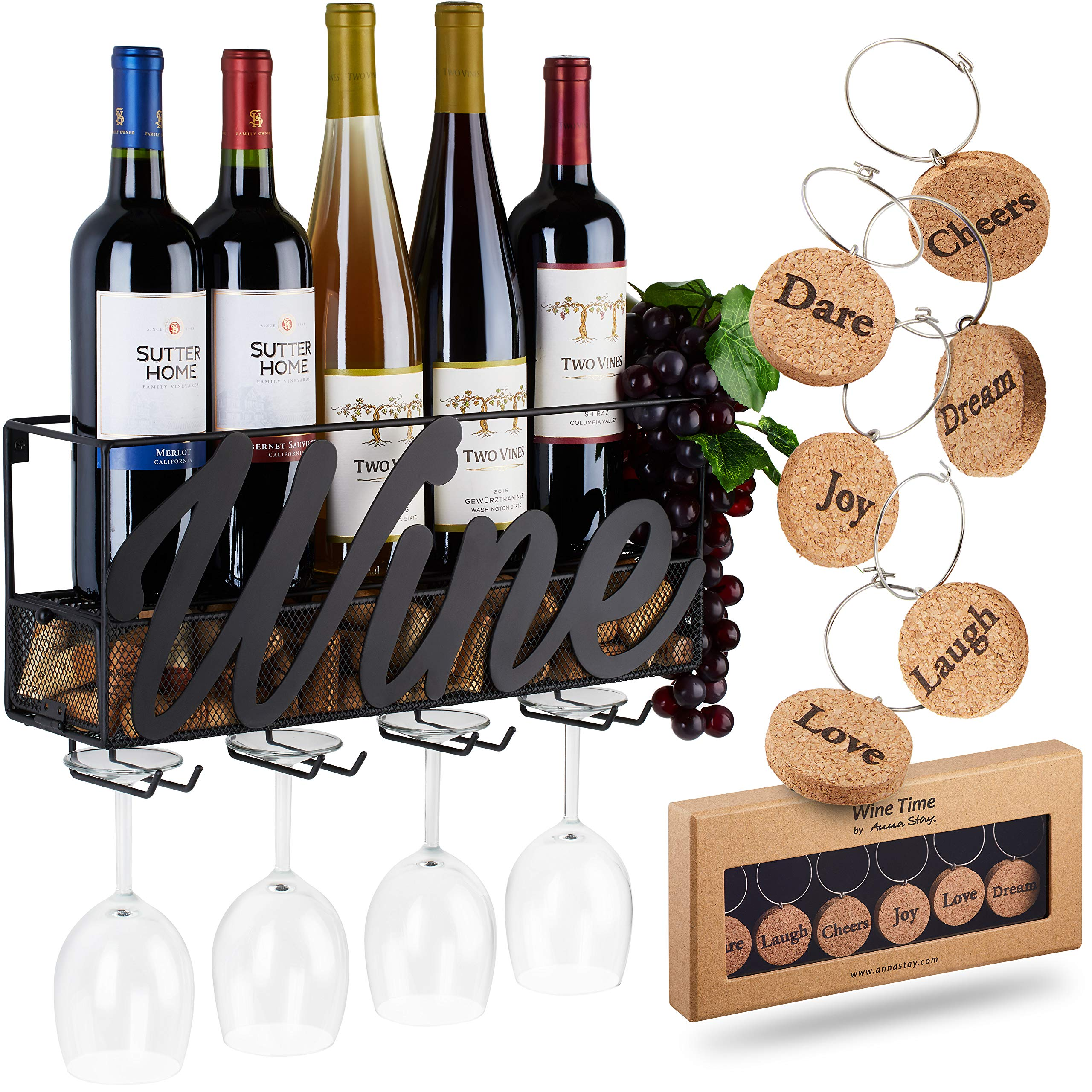 Wall Mounted Wine Rack - Bottle & Glass Holder - Cork Storage - Store Red, White, Champagne - Comes with 6 Cork Wine Charms - Home & Kitchen Décor - Designed by Anna Stay, Wine by TRIVETRUNNER -ANNA STAY