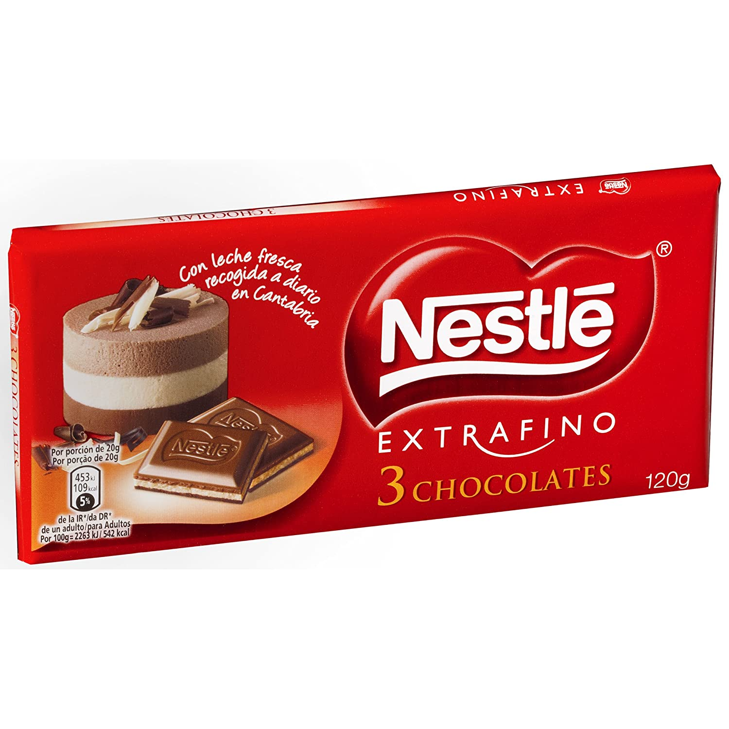 Nestlé - Extrafino - 3 Chocolates - Tableta de Tres Chocolates - 120 g: Amazon.es: Alimentación y bebidas