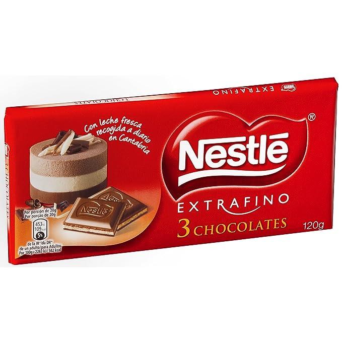 Nestlé - Extrafino - 3 Chocolates - Tableta de Tres Chocolates - 120 g: Amazon.es: Alimentación y bebidas