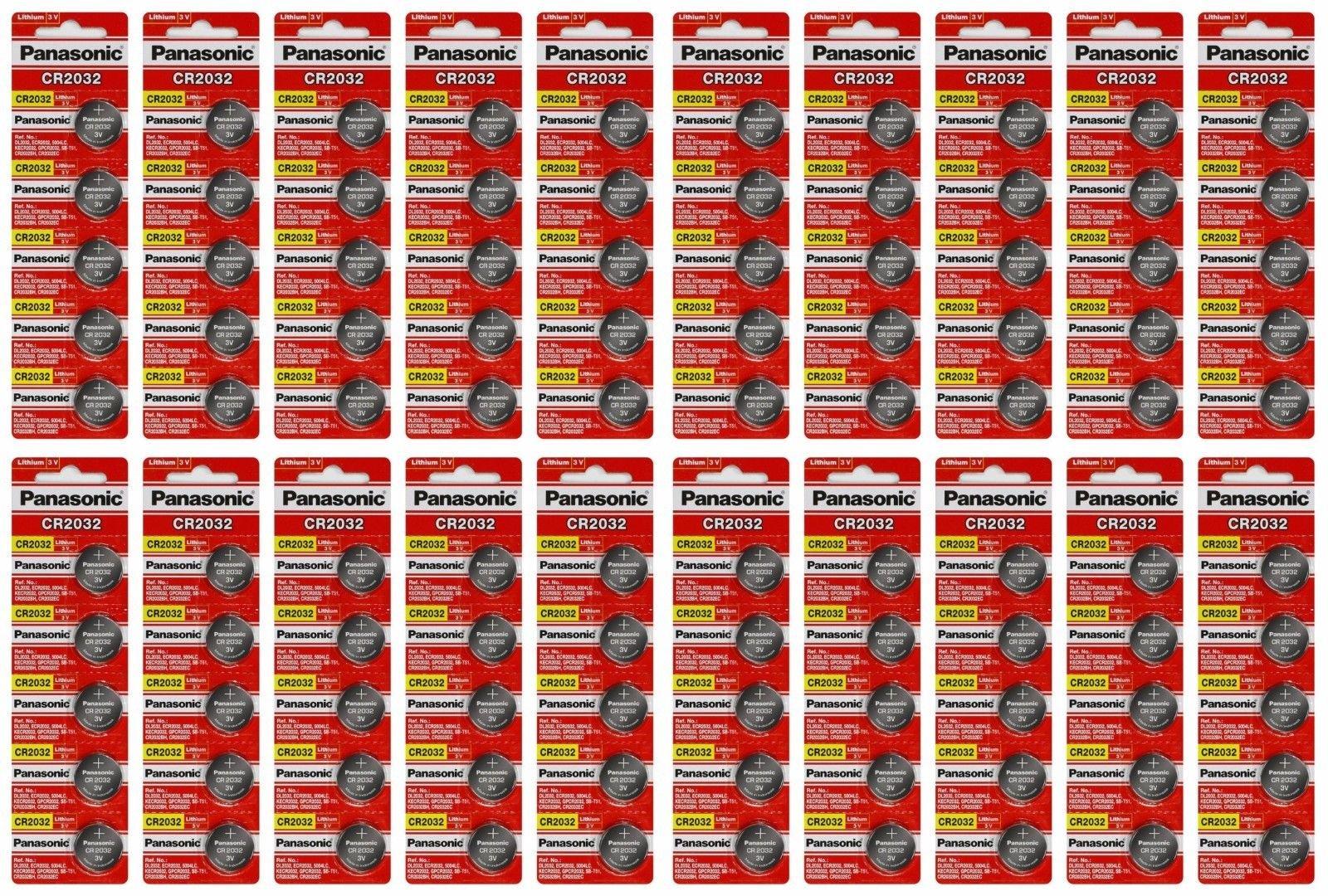 Panasonic Lot of 100 Batteries CR2032 DL2032 ECR2032 3V Lithium Coin Battery