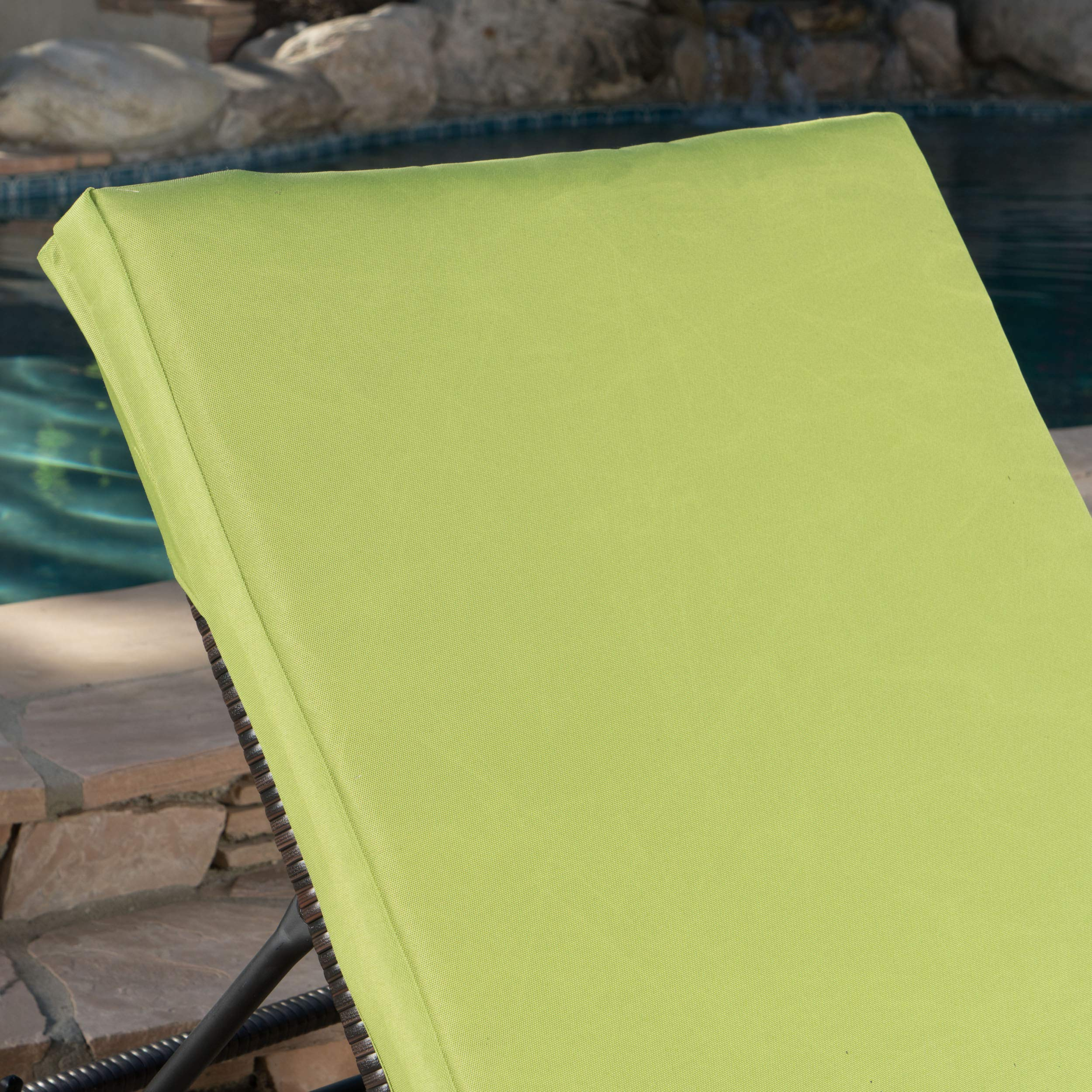 Great Deal Furniture Jessica Outdoor Green Water Resistant Chaise Lounge Cushion (Set of 2)