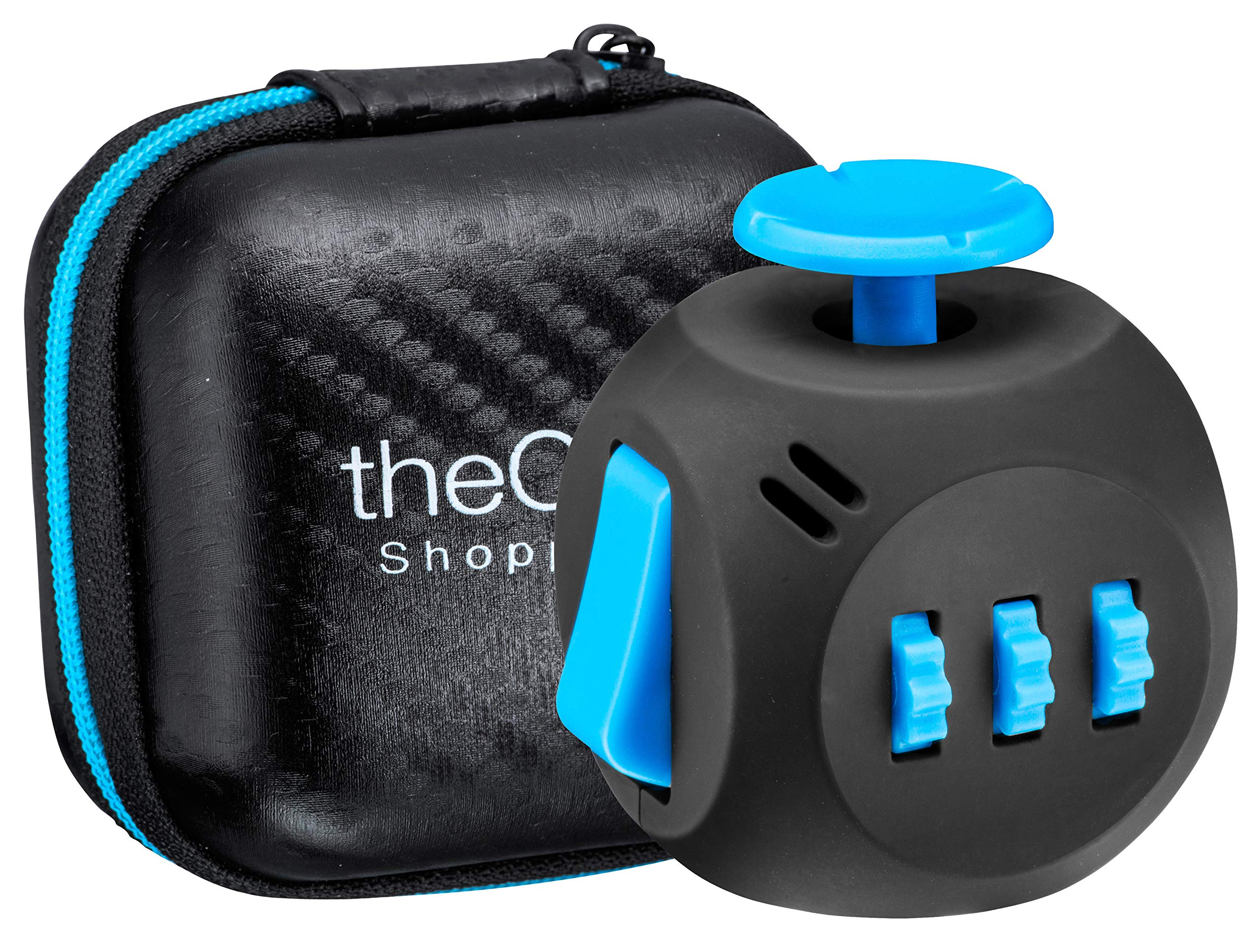 Shopperals Premium Quality Black & Blue Fidget Cube with Exclusive Matching Gift Case, Stress Relief Toy by Shopperals