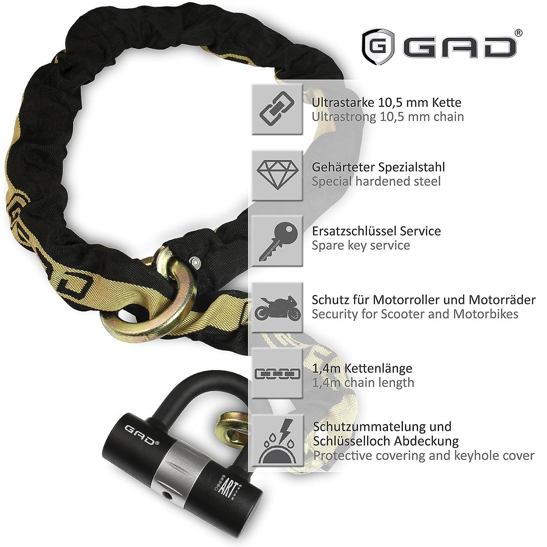 GAD® Cadena de eslabones con candado para freno de moto, eslabones de 10,5 x 1,4 m: Amazon.es: Bricolaje y herramientas