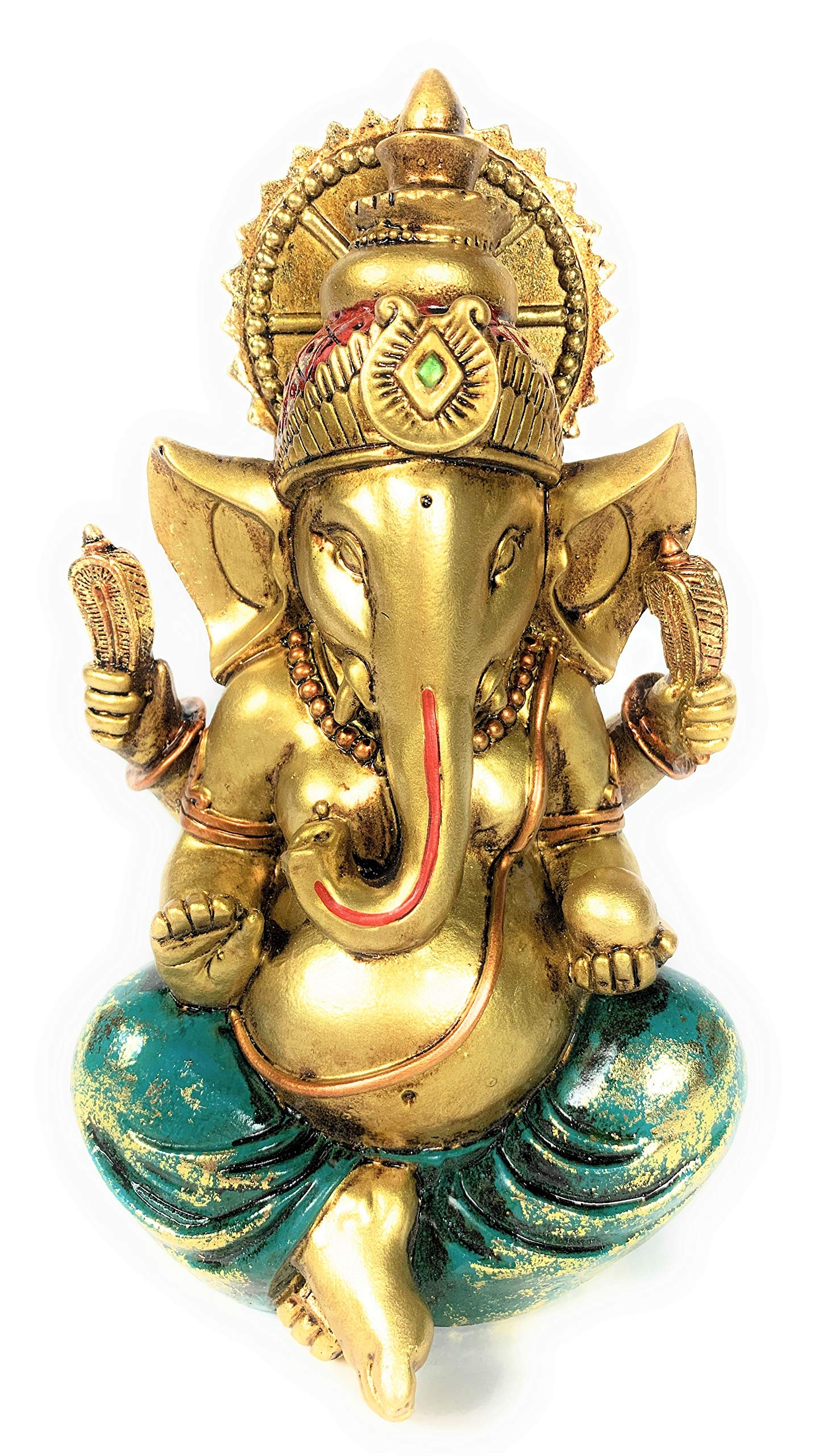 Ganesha Statue Elephant Hindu God of Success Large 9.5-inch-tall Resin Ganesh Idol Hand-Painted in Gold Indian Decor Perfect Gift for Wedding and Diwali Decoration by HINDU ORIGINALS