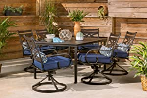 "Hanover MCLRDN7PCSQSW6-NVY Montclair 7-Piece Set in Navy Blue with 6 Swivel Rockers and a 40"" x 67"" Dining Table Outdoor Furniture"