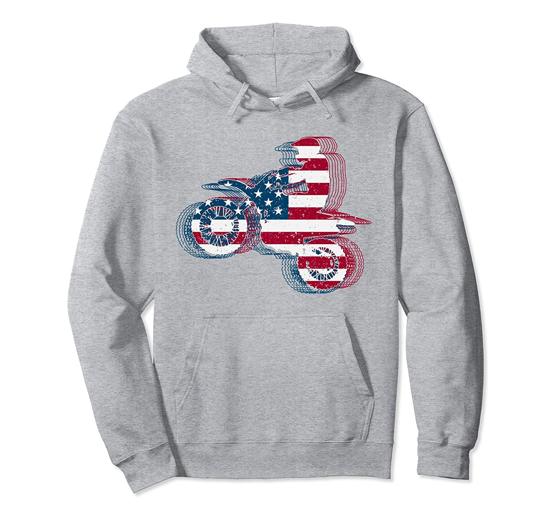 Dirt Bike Hoodie Motocross American Flag Boys Gift-Teechatpro
