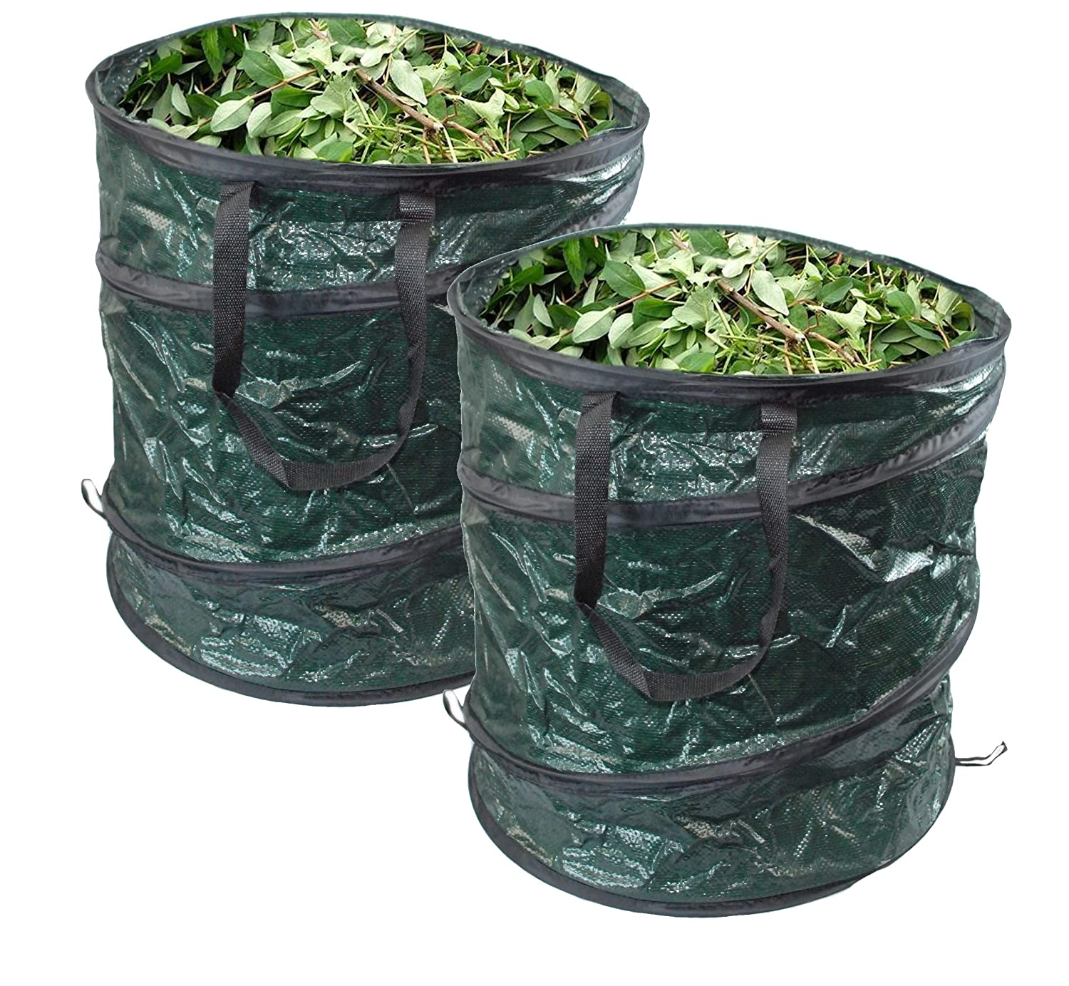 GLOW Set of 2 Pop Up Garden Waste Bags with Carry Handles – Large Reusable Premium Heavy Duty Double Stitched 80L Collapsible Folding Lightweight Outdoor Home and Garden Collection Bin Sack for Refuse Rubbish Leaves Soil Grass Weeds Cuttings Plants Flower