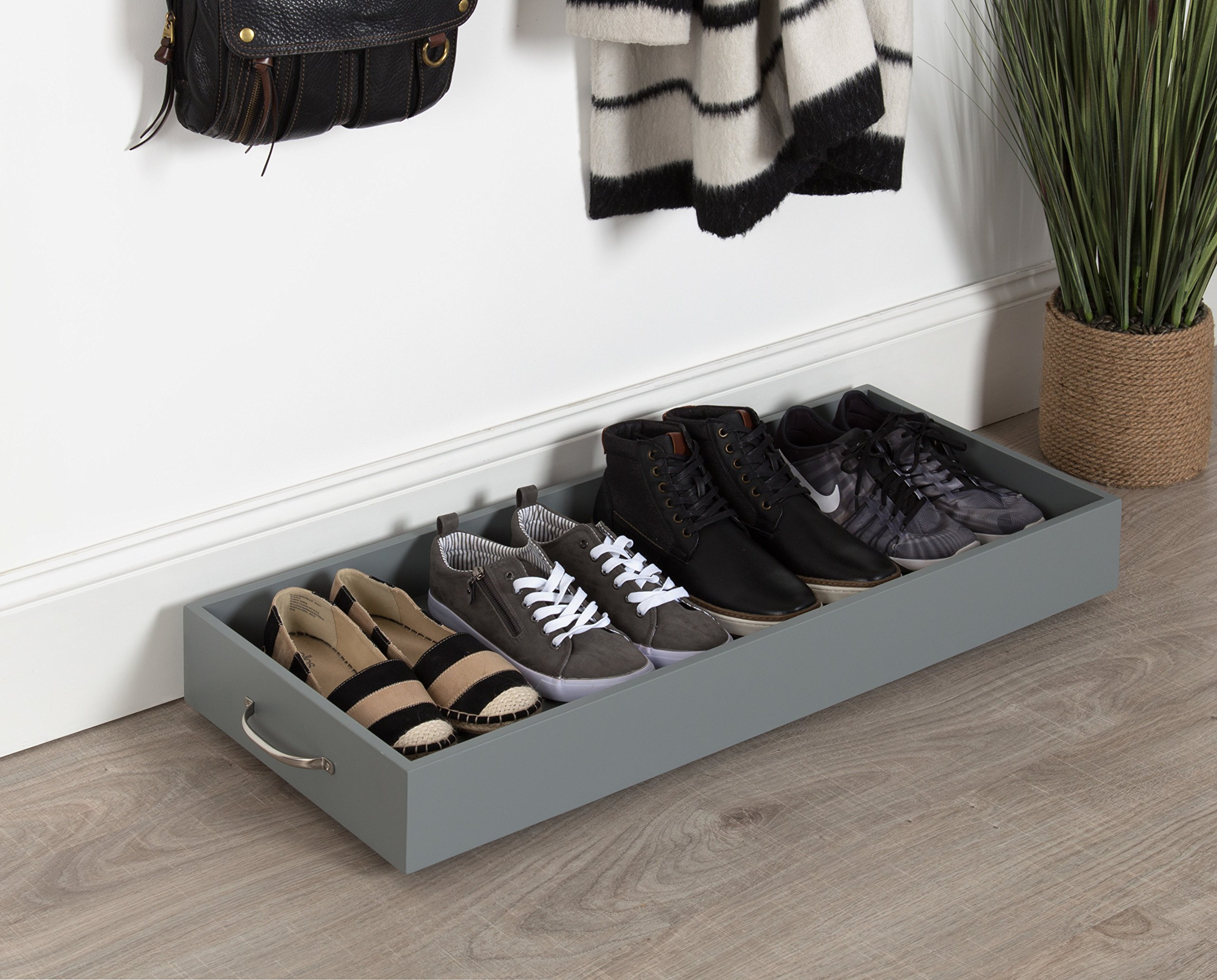 Kate and Laurel Callaway Multipurpose Rolling Wooden Boot/Shoe Storage Organizer Tray, Gray with Silver Handles 34 x 14 Inches by Kate and Laurel (Image #5)