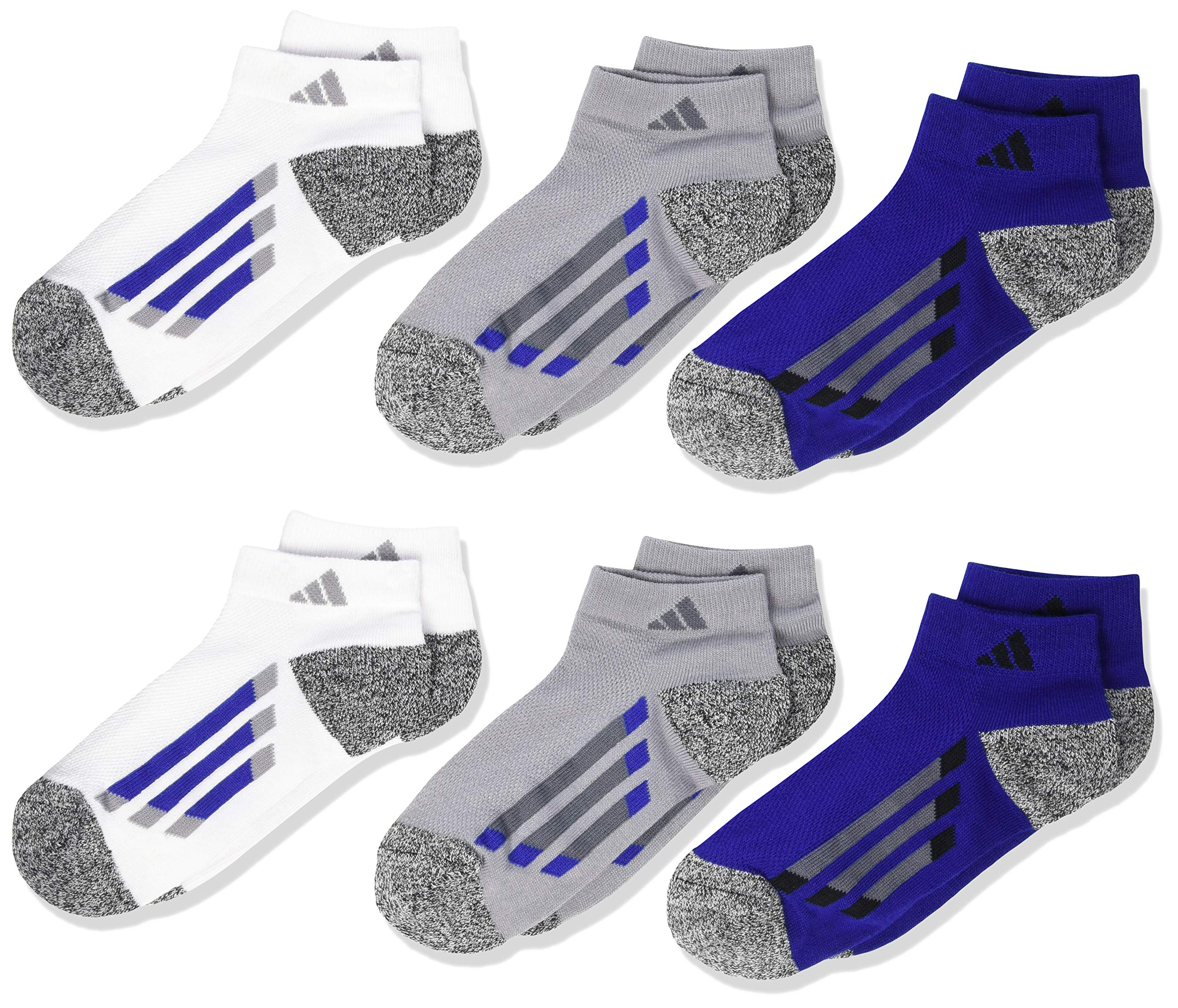 adidas Youth Kids-Boy's/Girl's Cushioned Low Cut Socks (6-Pair), Light Onix/Black - White Marl/Onix/Mystery Ink Blue, Large, (Shoe Size 3Y-9) by adidas