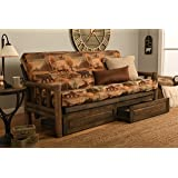 "Rustic Lodge Wood ""Frame, Drawers and Mattress"" 8 Inch Innerspring Mattress Futon Set by Jerry Sales (Canada Wild Fabric)"