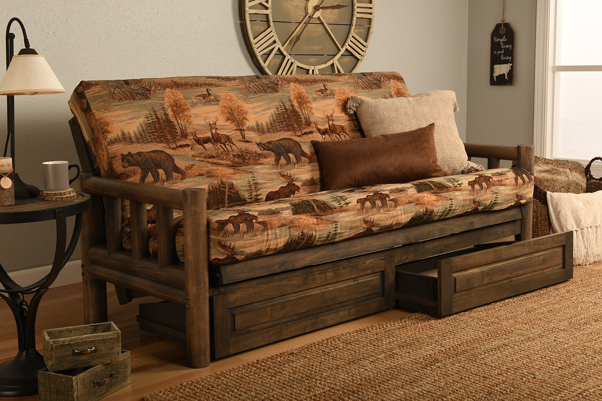 Rustic Lodge Wood ''Frame, Drawers and Mattress'' 8 Inch Innerspring Mattress Futon Set by Jerry Sales (Canada Wild Fabric)