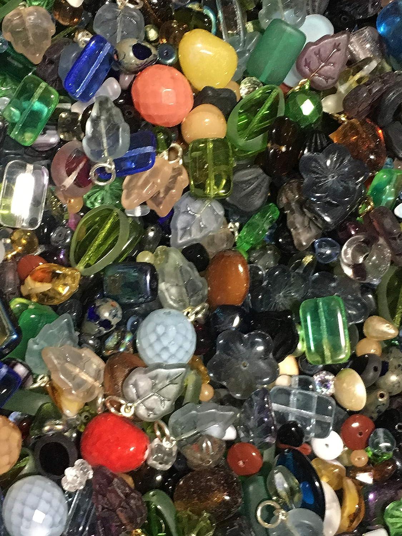 100 grams Fancy Lampwork Glass Crystal White Glass Bead Mix