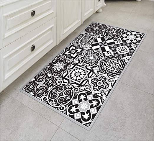 Amazon Com Tiva Design B W Vinyl Floor Mat Decorative Linoleum