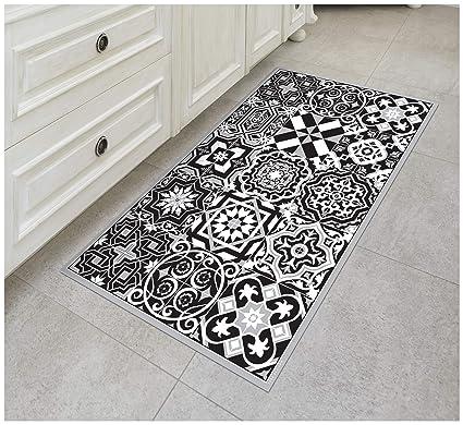 Vinyl Floor Mats >> Tiva Design B W Vinyl Floor Mat Decorative Linoleum Pvc Rug Runner Tile Flooring In 12 Choices Colorful Durable Anti Slip Hand Washable And