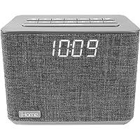 iHome Bluetooth Dual Alarm FM Clock Radio with Speakerphone and USB Charging Grey (iBT232)