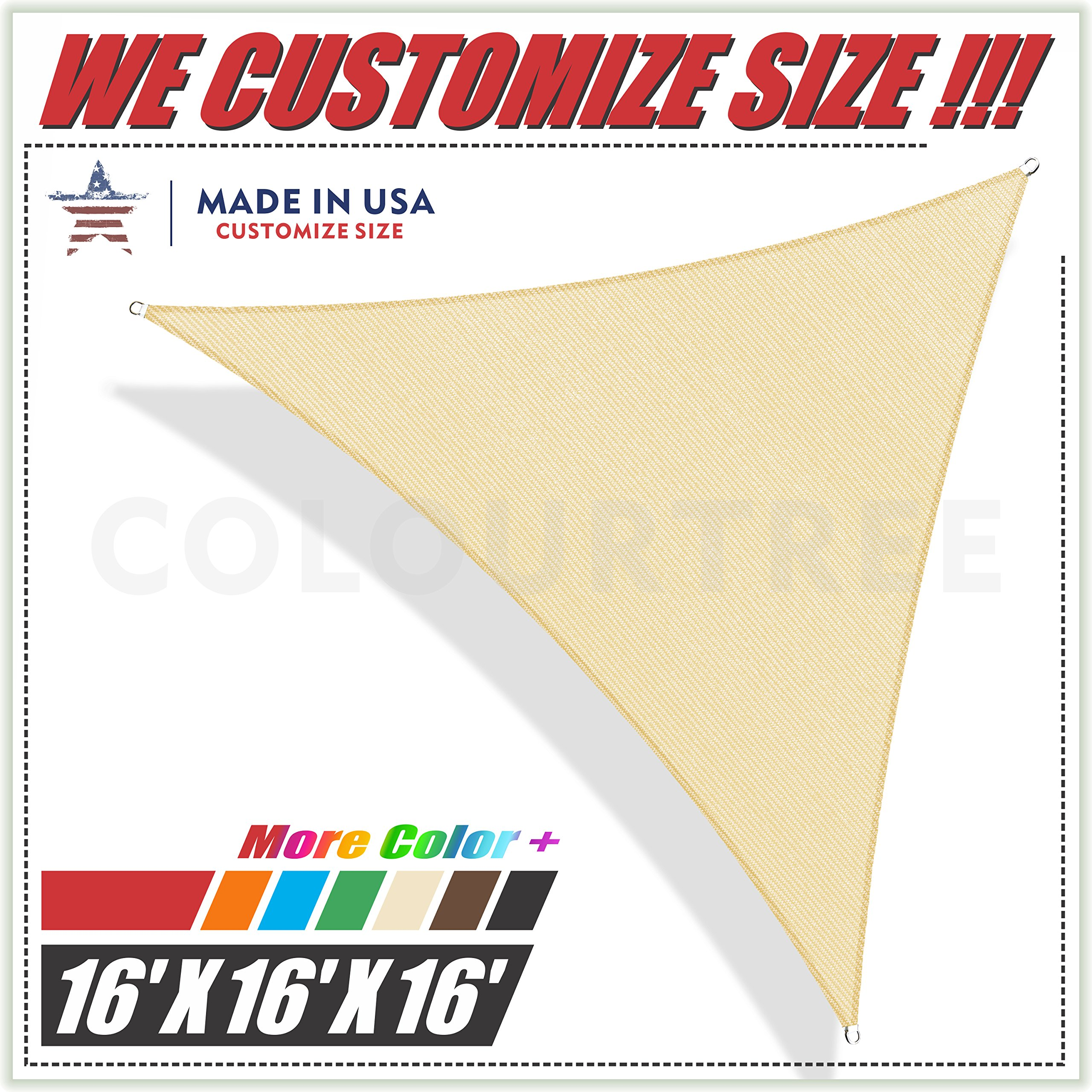 ColourTree 16' x 16' x 16' Beige Sun Shade Sail Triangle Canopy, UV Resistant Heavy Duty Commercial Grade, We Make Custom Size by ColourTree