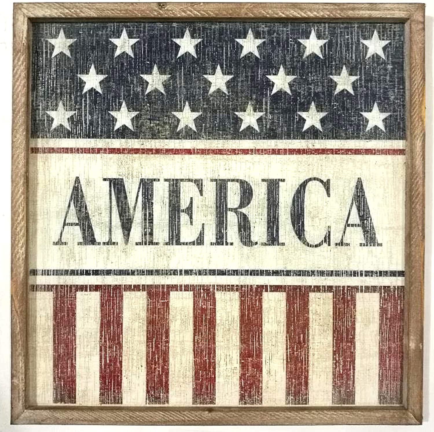 THE NIFTY NOOK Vintage Old Glory American Wall Sign Home Office Farmhouse Decor (America)