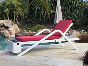 Solar Powered Chaise Lounge with Solar Panel for Charging Phones, Laptops and Tablets. Includes Two USB Charging Ports, 12v Power Outlet and Locker. All-Weather Outdoor Patio (Red)
