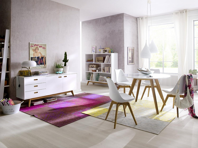 Esstisch rund weiß eiche  Tenzo 2181-024 Bess - Designer Esstisch rund, schwarz, Tischplatte ...