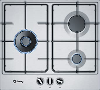 Balay 3ETX663MN hobs Acero inoxidable Integrado Encimera de gas - Placa (Acero inoxidable, Integrado, Encimera de gas, Acero inoxidable, 1000 W, 3000 ...
