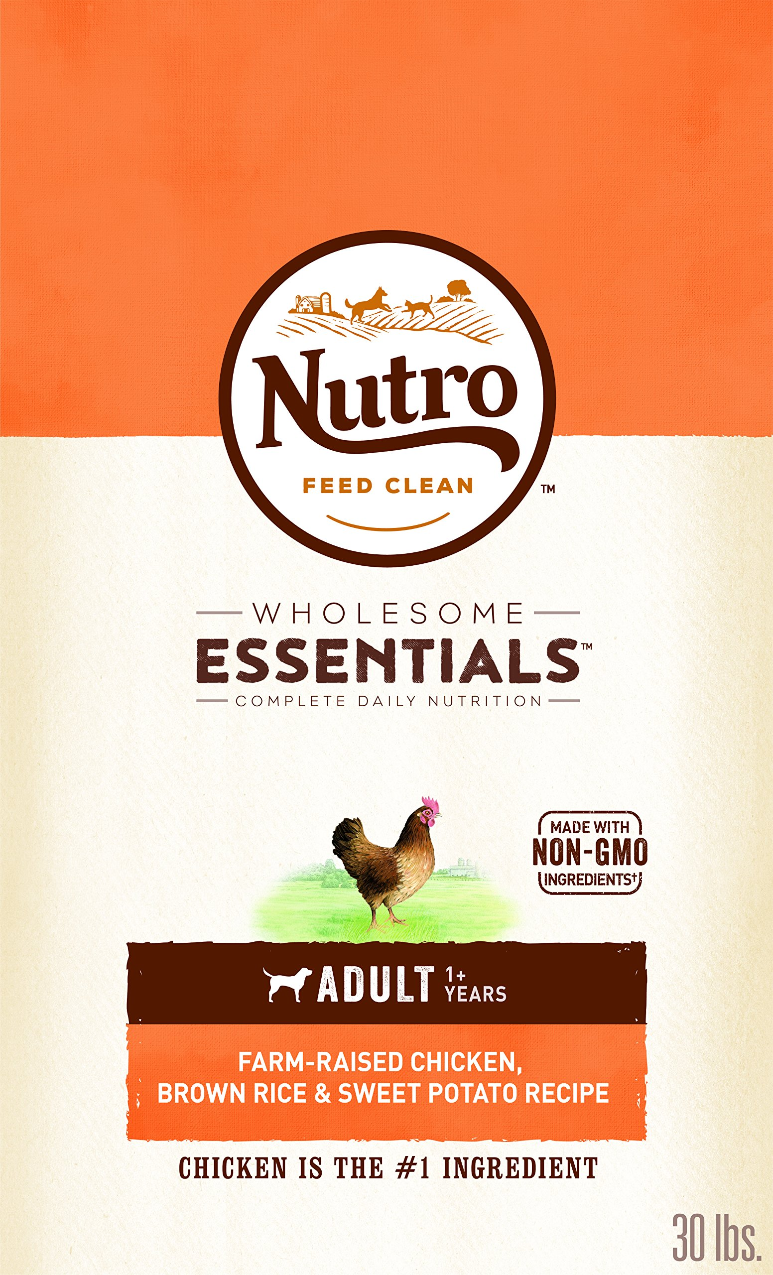 NUTRO WHOLESOME ESSENTIALS Natural Adult Dry Dog Food Farm-Raised Chicken, Brown Rice & Sweet Potato Recipe, 30 lb. Bag by Nutro