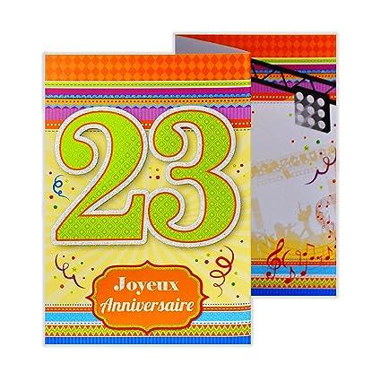 afie d8379 tarjeta 3 Volets cumpleaños feliz 23 años: Amazon ...