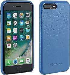 StilGut Premium Cover, Coque en Cuir pour iPhone 7 Plus, Bleu Aqua Nappa