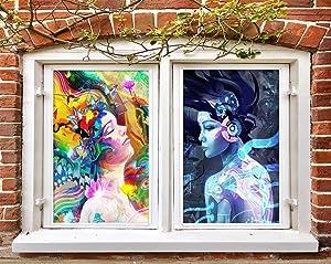 3D Music Girl 0774 Window Film Print Sticker Cling Stained Glass UV Block AJ WALLPAPER US Angelia (Vinyl (No Glue & Removable), 254x416cm【100