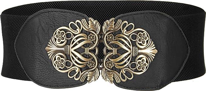 BlackButterfly Wide Elastic Stretch Vintage Antique Retro Buckle Belt Brown, US 2-4