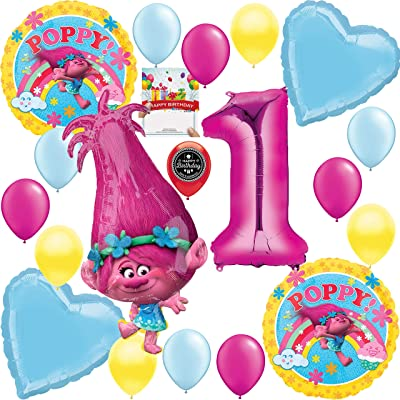 Trolls Party Supplies Poppy XL Balloon Decoration Bundle for 1st Birthday: Toys & Games