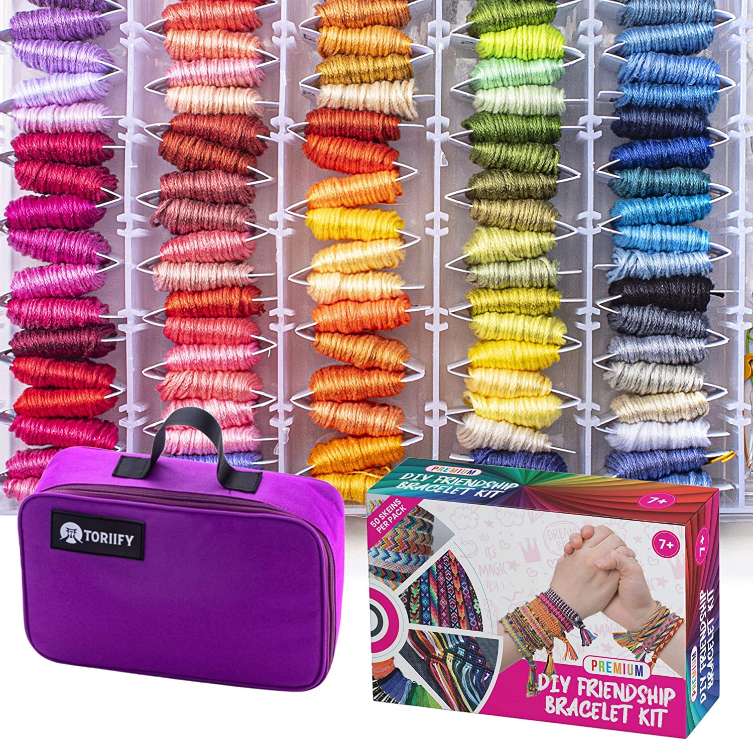 Premium Embroidery Floss with 100 Vibrant Colors Corresponding to DMC Yarn Color Chart,Durable Cross Stitch Thread Kit with Storage Box /& an Elegant Carrying Bag Toriify Friendship Bracelet String