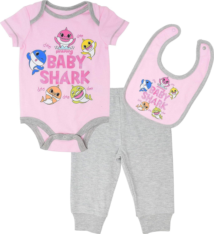 Pinkfong Baby Shark Girls Bodysuit Pants /& Bib Layette Set