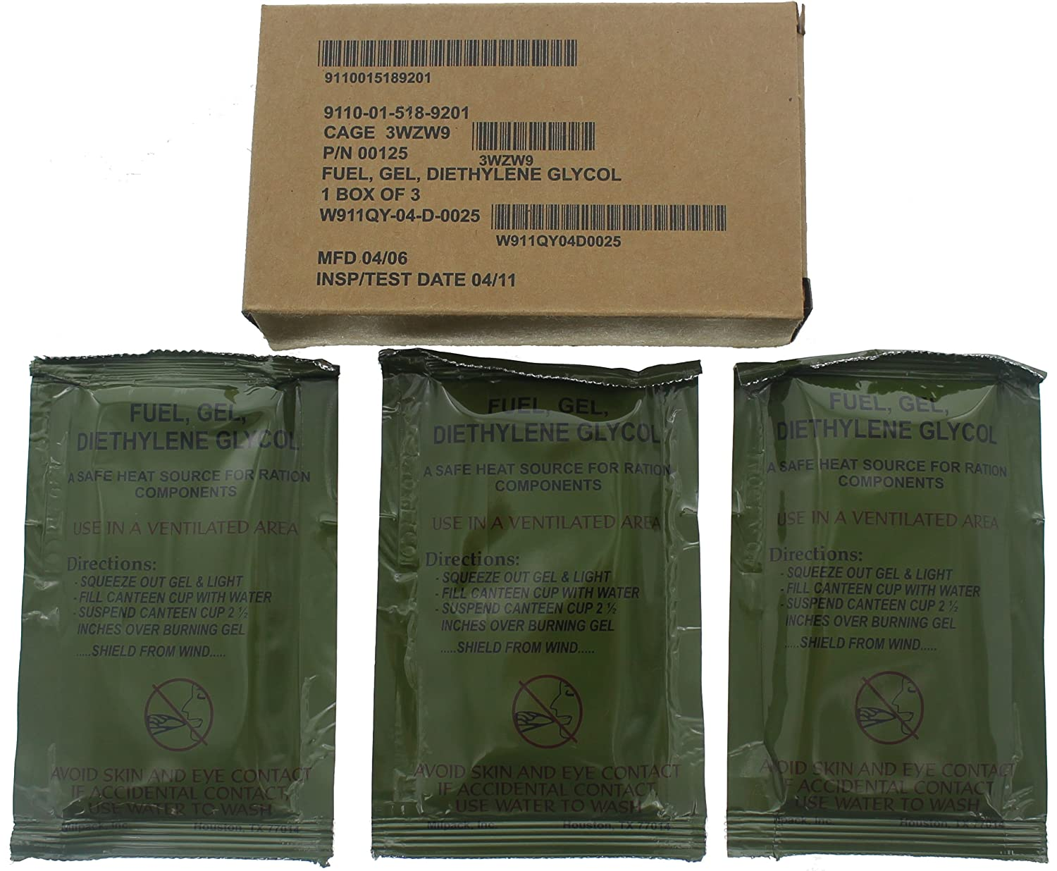 US Army GI Military Gel Fuel & Fire Starter - Mil Spec Diethylene Glycol Firestarter - USA made, 3 Pack Army Universe