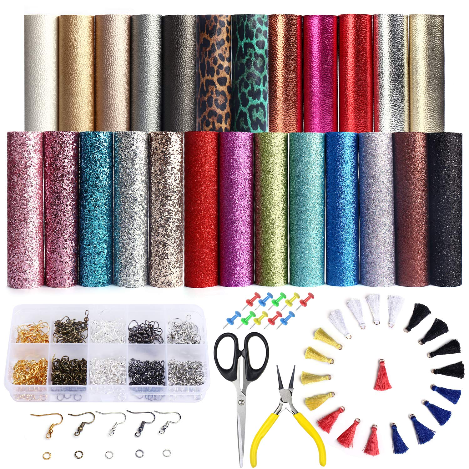 25 PCS A5 Size Faux Leather Sheets, 5 Styles Synthetic Leather Sheets (Super Shiny& Glitter& Pearlized& Metallic& Leopard Printed) with Earring Hooks, Tassel Hoop for Earring Making Crafts by SIMPZIA