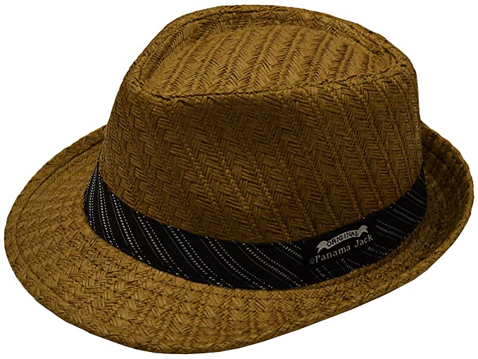 Panama Jack Mens Weaved Toyo Fedora with Striped Black Band at ... 7a0f1f8ef6ba