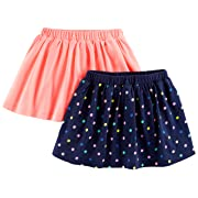 Simple Joys by Carter's Baby Girls' Toddler 2-Pack Knit Scooters (Skirt with Built-in Shorts), Pink. Navy Dot, 3T